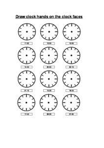 draw hands on the clock faces - quarter minutes-thumbnail