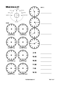 write time draw hands on clock - oclock half quarter-thumbnail