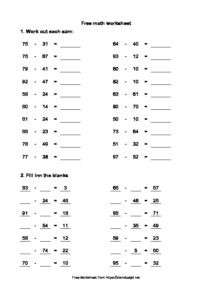 subtraction double digit missing addend math worksheet numbers one to hundred math drill pdf image 212x300