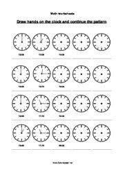 Learn the clock worksheet – o\'clock, half and quarter – Planet Psyd